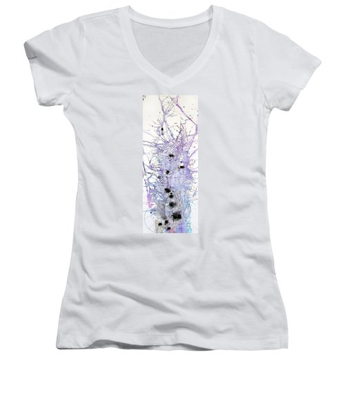 Women's V-Neck T-Shirt (Junior Cut) featuring the painting Purple Passion by Rebecca Davis