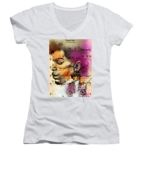 Purple Rain Forever Women's V-Neck T-Shirt (Junior Cut) by Howard Barry