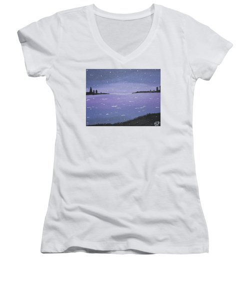 Purple Skies Women's V-Neck T-Shirt (Junior Cut) by Cyrionna The Cyerial Artist