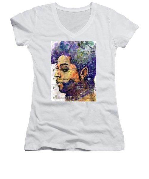 Purple Tears Women's V-Neck T-Shirt (Junior Cut) by Howard Barry