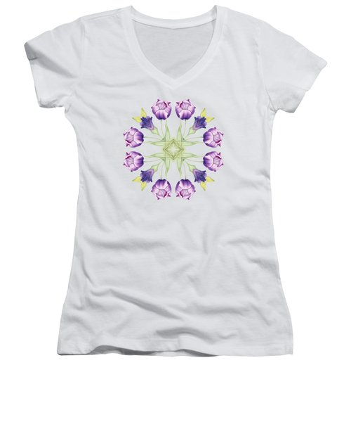 Purple Tulip Mandala Women's V-Neck (Athletic Fit)