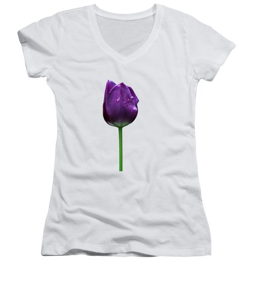 Purple Tulip T Women's V-Neck (Athletic Fit)