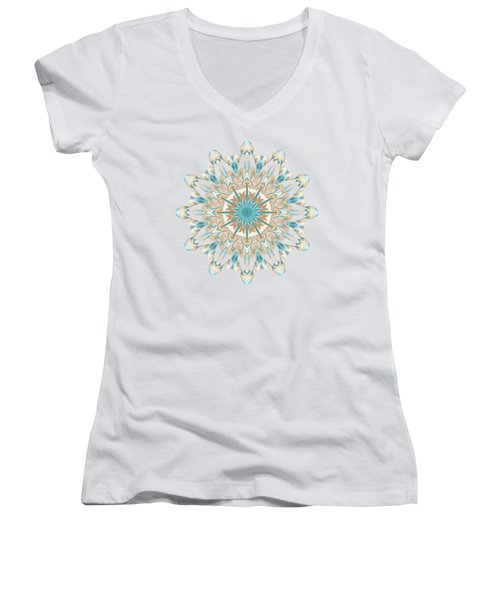 Pussy Willow Pattern Women's V-Neck T-Shirt (Junior Cut) by Mary Machare