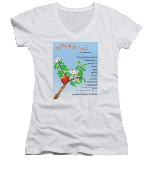 Women's V-Neck T-Shirt featuring the digital art Putting In The Seed by Thomasina Durkay