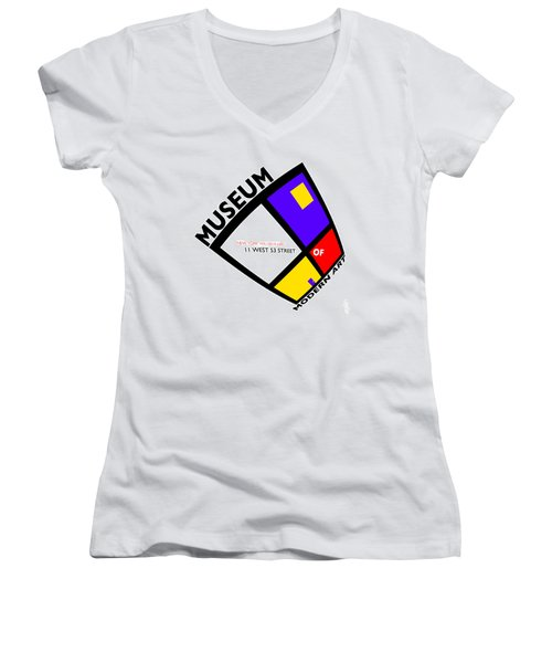 Putting On De Stijl Women's V-Neck T-Shirt (Junior Cut) by Charles Stuart
