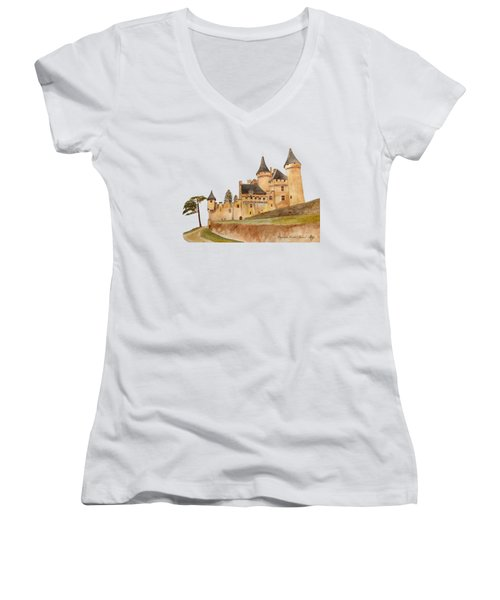 Puymartin Castle Women's V-Neck T-Shirt (Junior Cut) by Angeles M Pomata