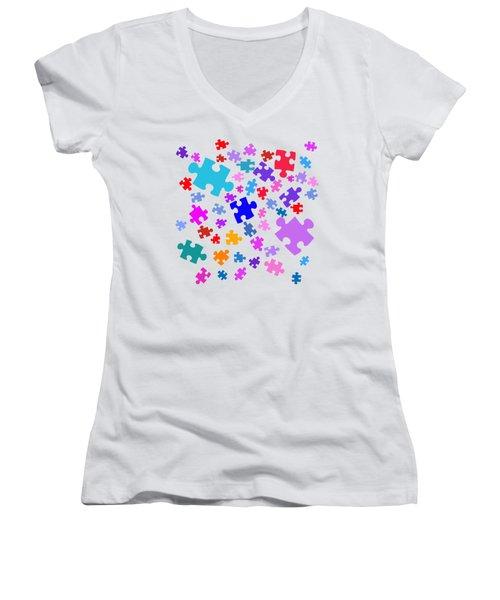 Puzzle Pieces Women's V-Neck T-Shirt