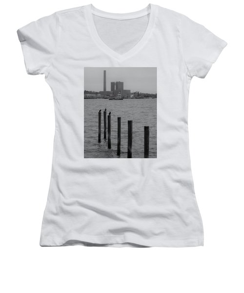 Women's V-Neck T-Shirt (Junior Cut) featuring the photograph Q. River by John Scates
