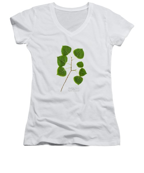 Women's V-Neck T-Shirt (Junior Cut) featuring the photograph Quaking Aspen by Christina Rollo