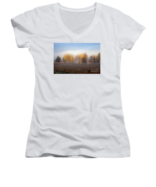 Quaking Aspen Trees At Dawn, Grand Teton National Park, Wyoming Women's V-Neck T-Shirt