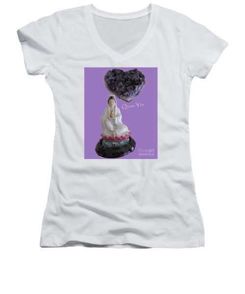 Quan Yin With Amethyst Heart Women's V-Neck (Athletic Fit)