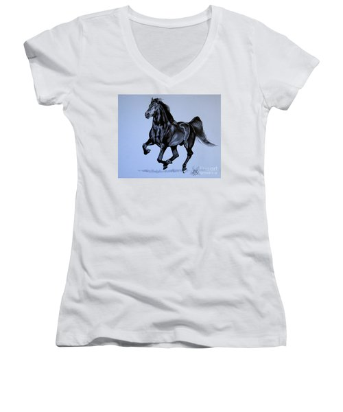 The Black Quarter Horse In Bic Pen Women's V-Neck T-Shirt