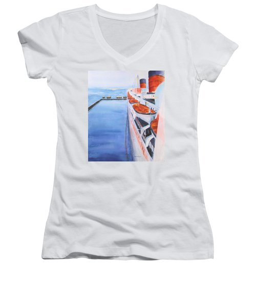 Queen Mary From The Bridge Women's V-Neck (Athletic Fit)