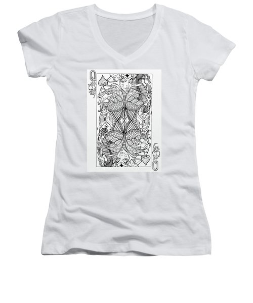 Queen Of Spades  Women's V-Neck (Athletic Fit)