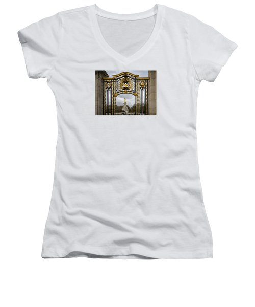Women's V-Neck T-Shirt (Junior Cut) featuring the photograph Queen Victoria's Statue by Shirley Mitchell