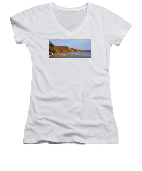 Women's V-Neck T-Shirt (Junior Cut) featuring the photograph Quiet Afternoon by Jim Walls PhotoArtist