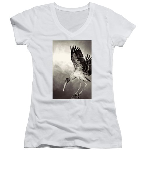 Quiet Women's V-Neck T-Shirt (Junior Cut) by Cyndy Doty