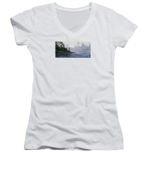 Quiet Shore Women's V-Neck T-Shirt (Junior Cut) by James Williamson