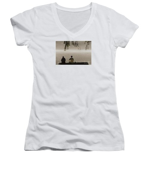 Women's V-Neck T-Shirt (Junior Cut) featuring the photograph Quiet Time by Inge Riis McDonald