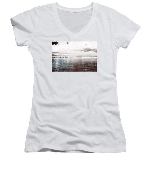 Quiet Waters Women's V-Neck T-Shirt (Junior Cut) by Keith Elliott