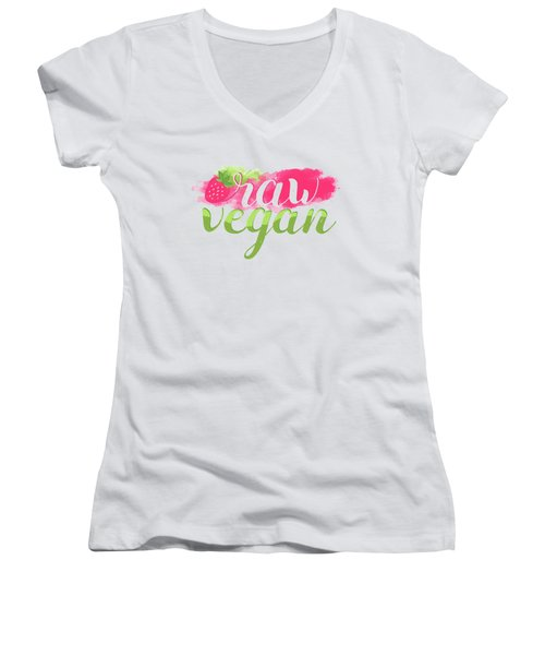 Quote Raw Vegan Strawberry Women's V-Neck (Athletic Fit)
