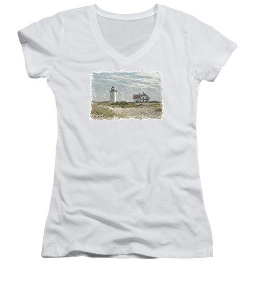 Race Point Lighthouse Women's V-Neck T-Shirt (Junior Cut)