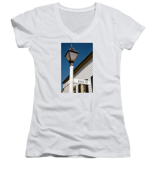 Women's V-Neck T-Shirt (Junior Cut) featuring the photograph Race St Old Salem by Bob Pardue
