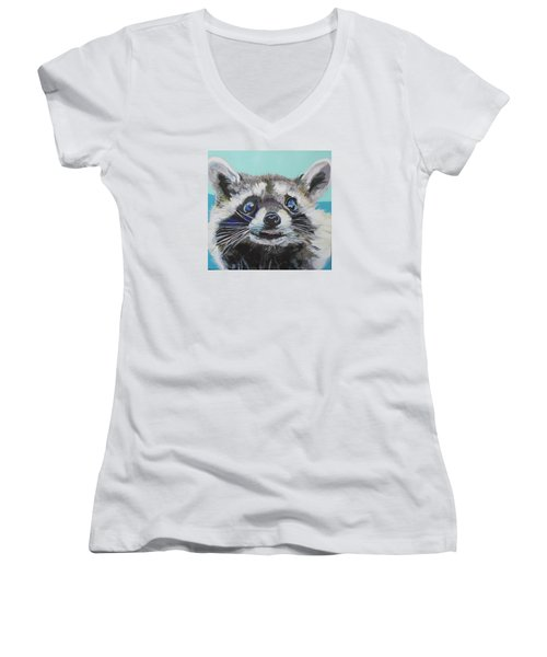 Racoon Women's V-Neck T-Shirt (Junior Cut) by Jamie Downs