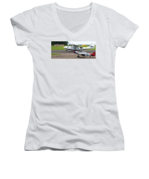 Raf Scampton 2017 - P-51 Mustang With Pby-5a Landing Women's V-Neck T-Shirt