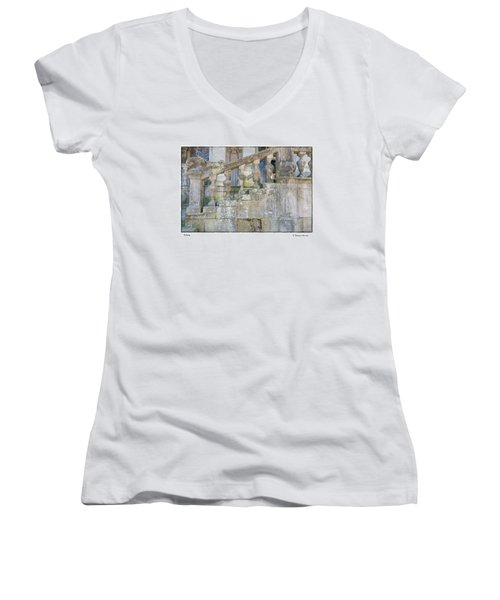 Women's V-Neck T-Shirt (Junior Cut) featuring the photograph Railing by R Thomas Berner