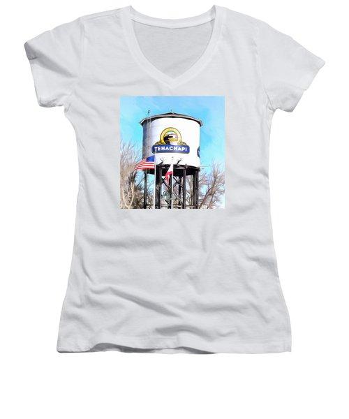 Women's V-Neck T-Shirt (Junior Cut) featuring the photograph Railroad Park Tehachapi California Detail by Floyd Snyder