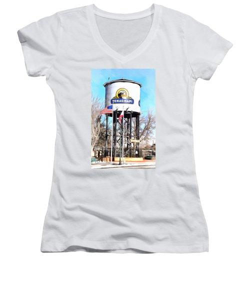 Women's V-Neck T-Shirt (Junior Cut) featuring the photograph Railroad Park Tehachapi California by Floyd Snyder