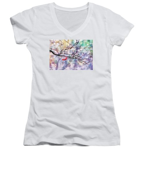 Rain Berries Women's V-Neck T-Shirt