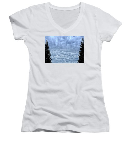 Rain Warning Women's V-Neck T-Shirt (Junior Cut)