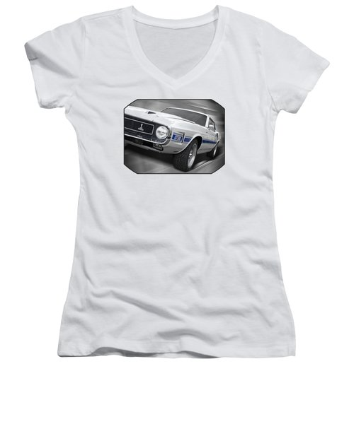 Rain Won't Spoil My Fun - 1969 Shelby Gt500 Mustang Women's V-Neck T-Shirt (Junior Cut) by Gill Billington