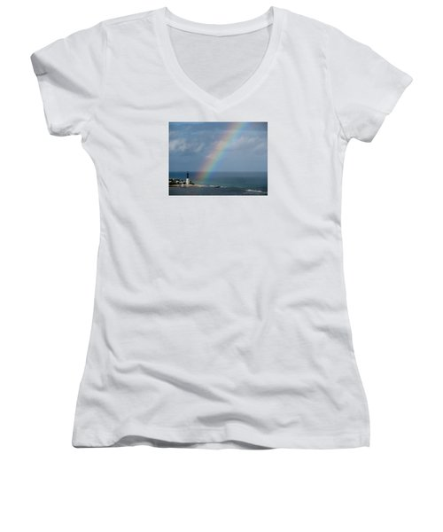 Rainbow At Lighthouse Women's V-Neck T-Shirt