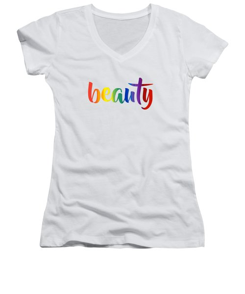 Rainbow Beauty Women's V-Neck (Athletic Fit)
