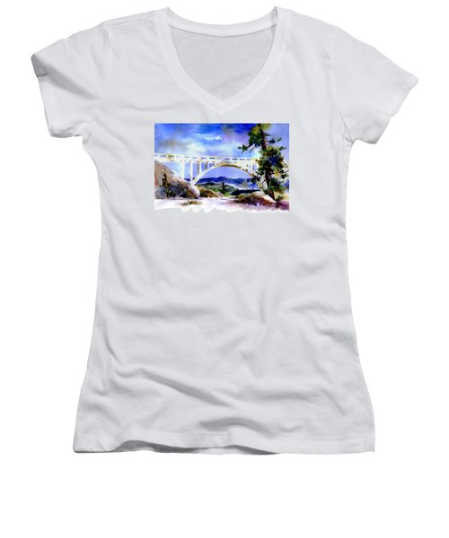 Rainbow Bridge Above Donnerlk#2 Women's V-Neck