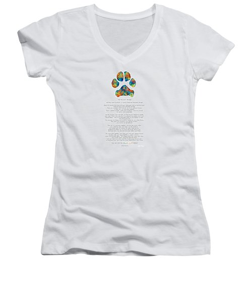Rainbow Bridge Poem With Colorful Paw Print By Sharon Cummings Women's V-Neck