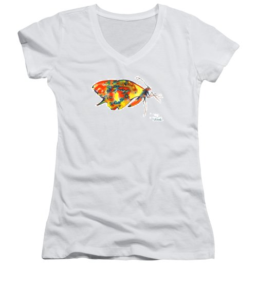 Rainbow Butterfly Women's V-Neck (Athletic Fit)
