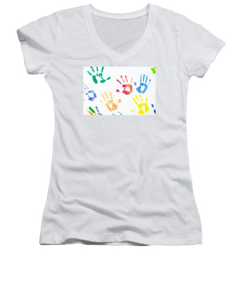 Women's V-Neck T-Shirt (Junior Cut) featuring the photograph Rainbow Color Arms Prints 1 by Jenny Rainbow