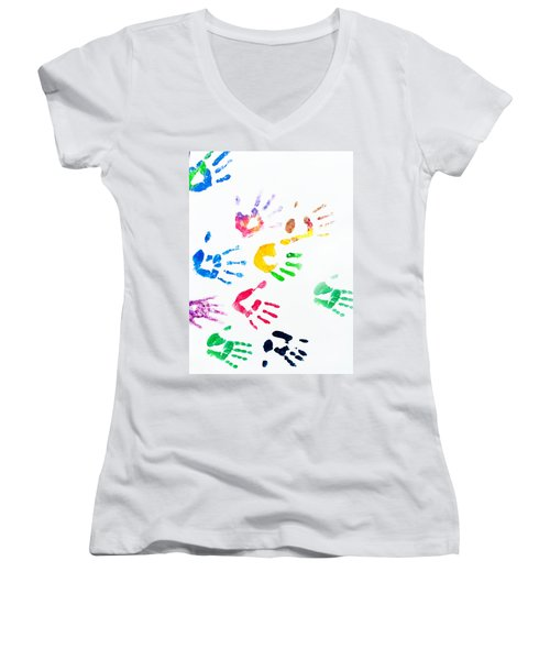 Women's V-Neck T-Shirt (Junior Cut) featuring the photograph Rainbow Color Arms Prints by Jenny Rainbow
