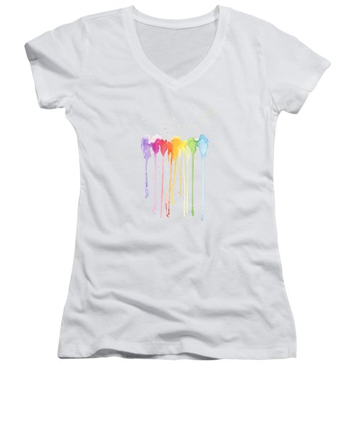 Rainbow Color Women's V-Neck (Athletic Fit)