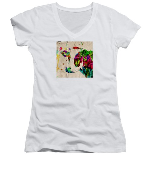 Rainbow Cow Print Poster Women's V-Neck (Athletic Fit)