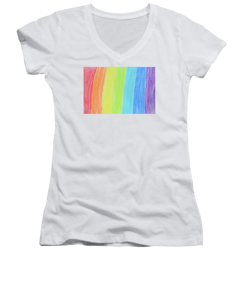 Rainbow Crayon Drawing Women's V-Neck