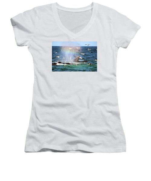 Rainbow In The Spray 1 Women's V-Neck (Athletic Fit)