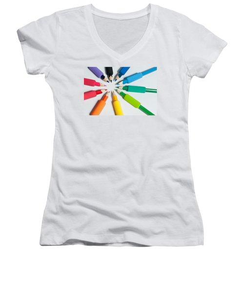 Rainbow Of Crayons Women's V-Neck