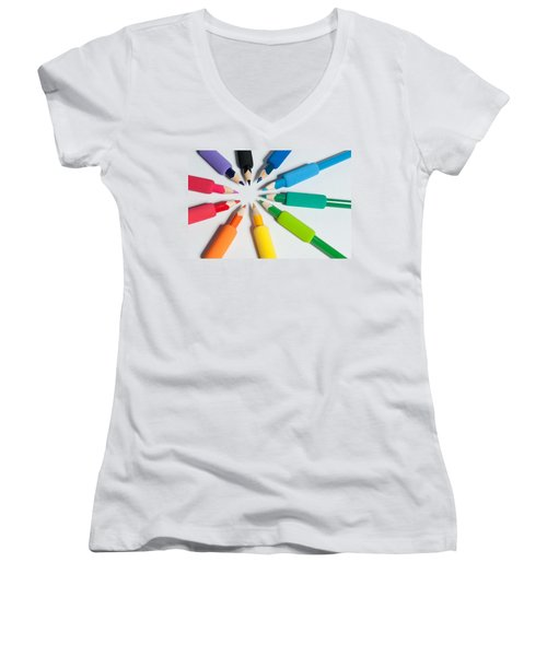 Rainbow Of Crayons Women's V-Neck (Athletic Fit)