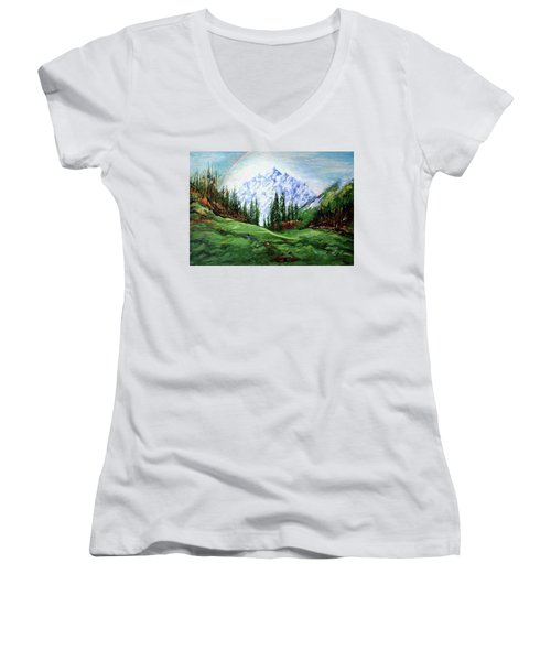 Rainbow Over The Snow Covered Mountain Women's V-Neck