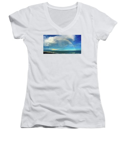 Rainbow Over Topsail Island Women's V-Neck T-Shirt (Junior Cut) by John Pagliuca